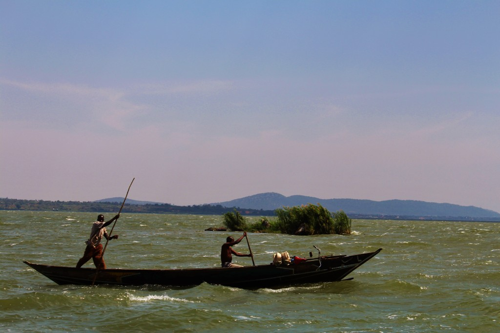 Canoeing can be good exercise - especially on Lake Victoria