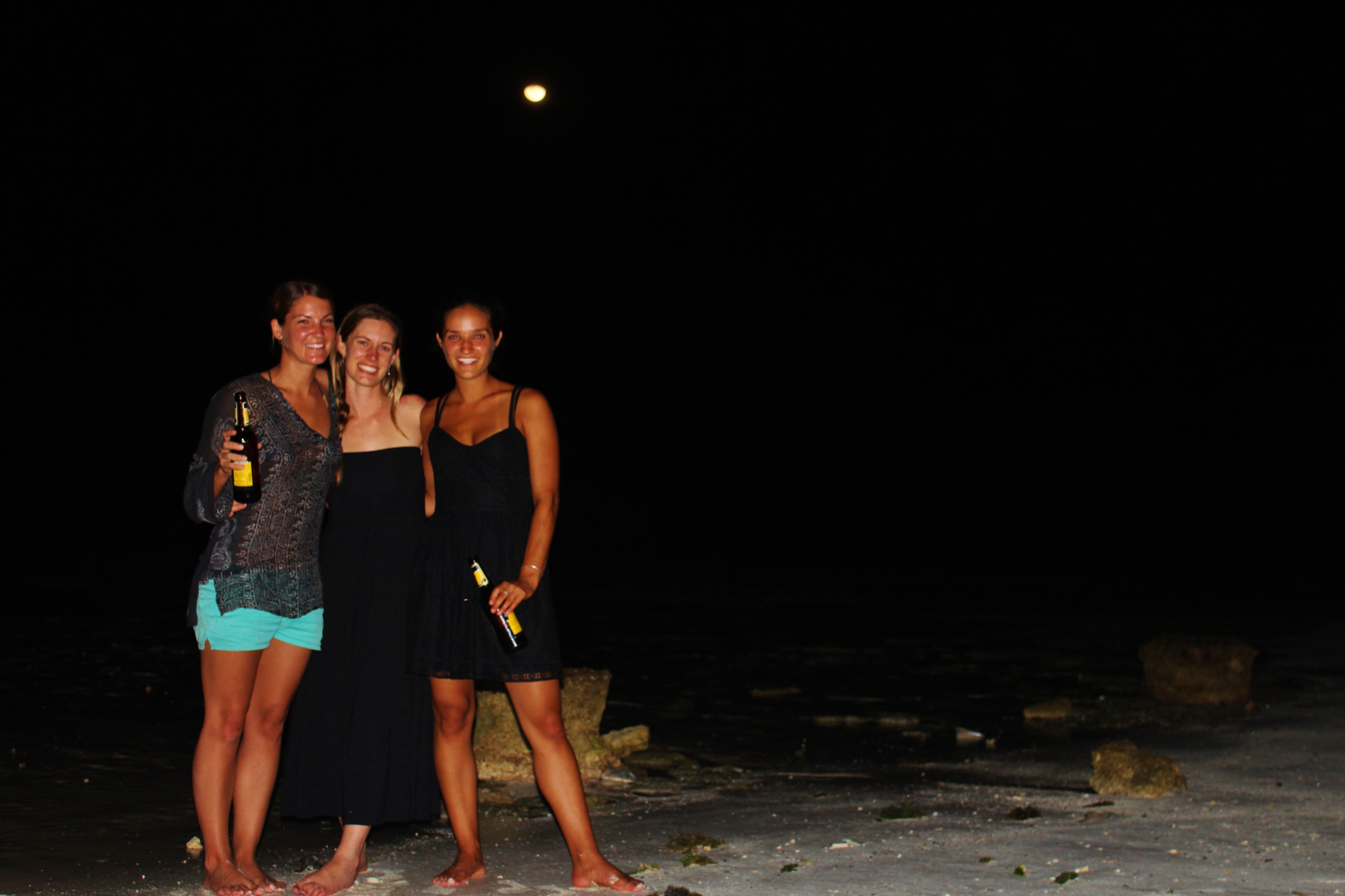 Lauren, Brie, and Kristie on the beach