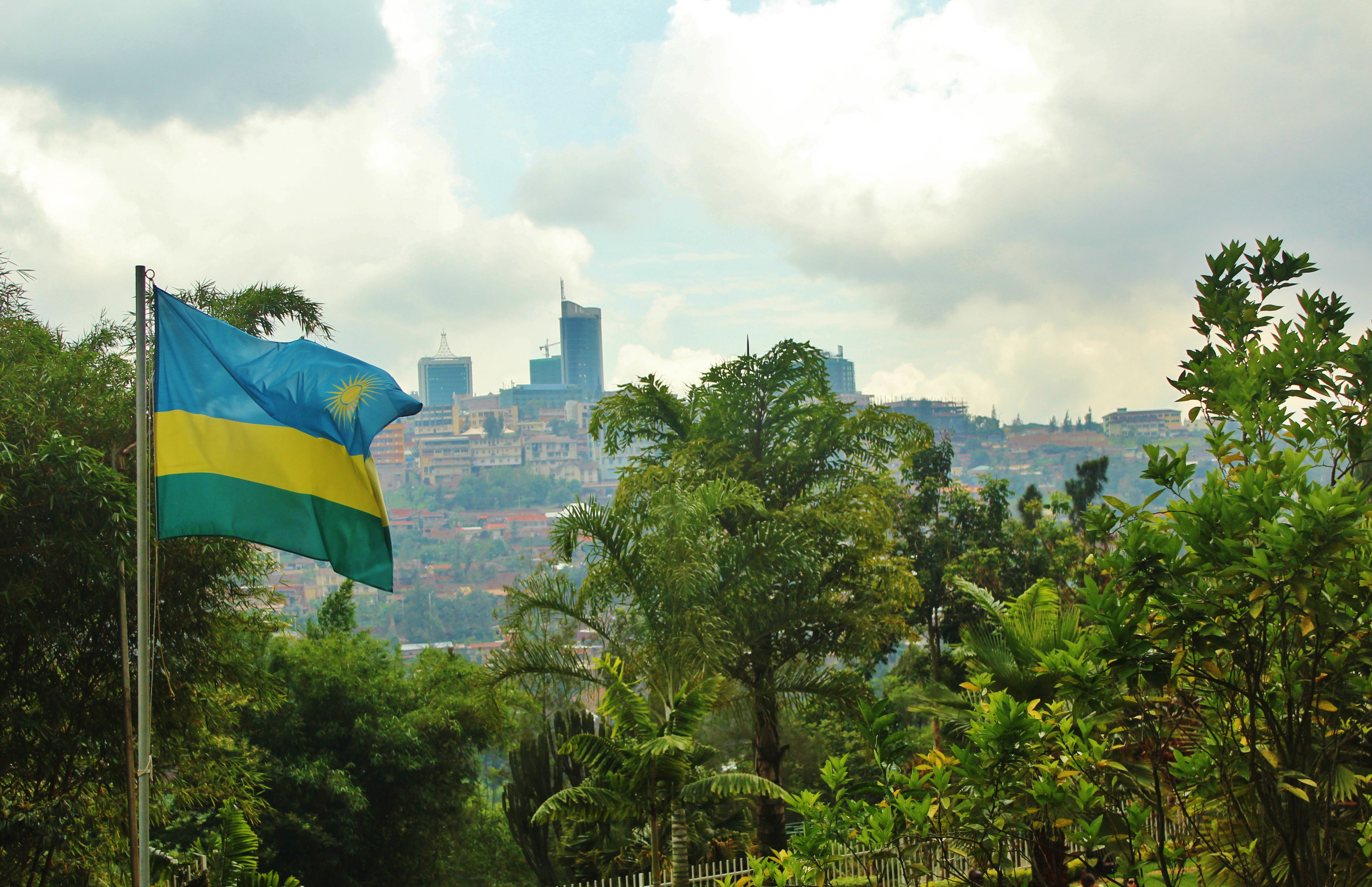 View of Kigali and Rwanda's flag from the Kigali Genocide Memorial