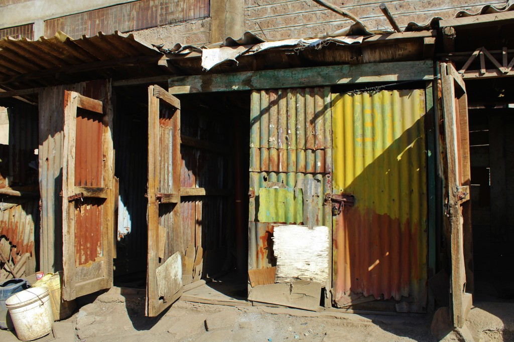 Typical pit latrines in Mukuru Kwa Ruben