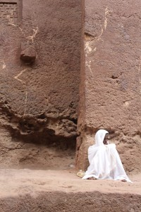 Outside one of the stone churches of Lalibela