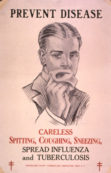 A poster warning of Tuberculosis and influenza (via)