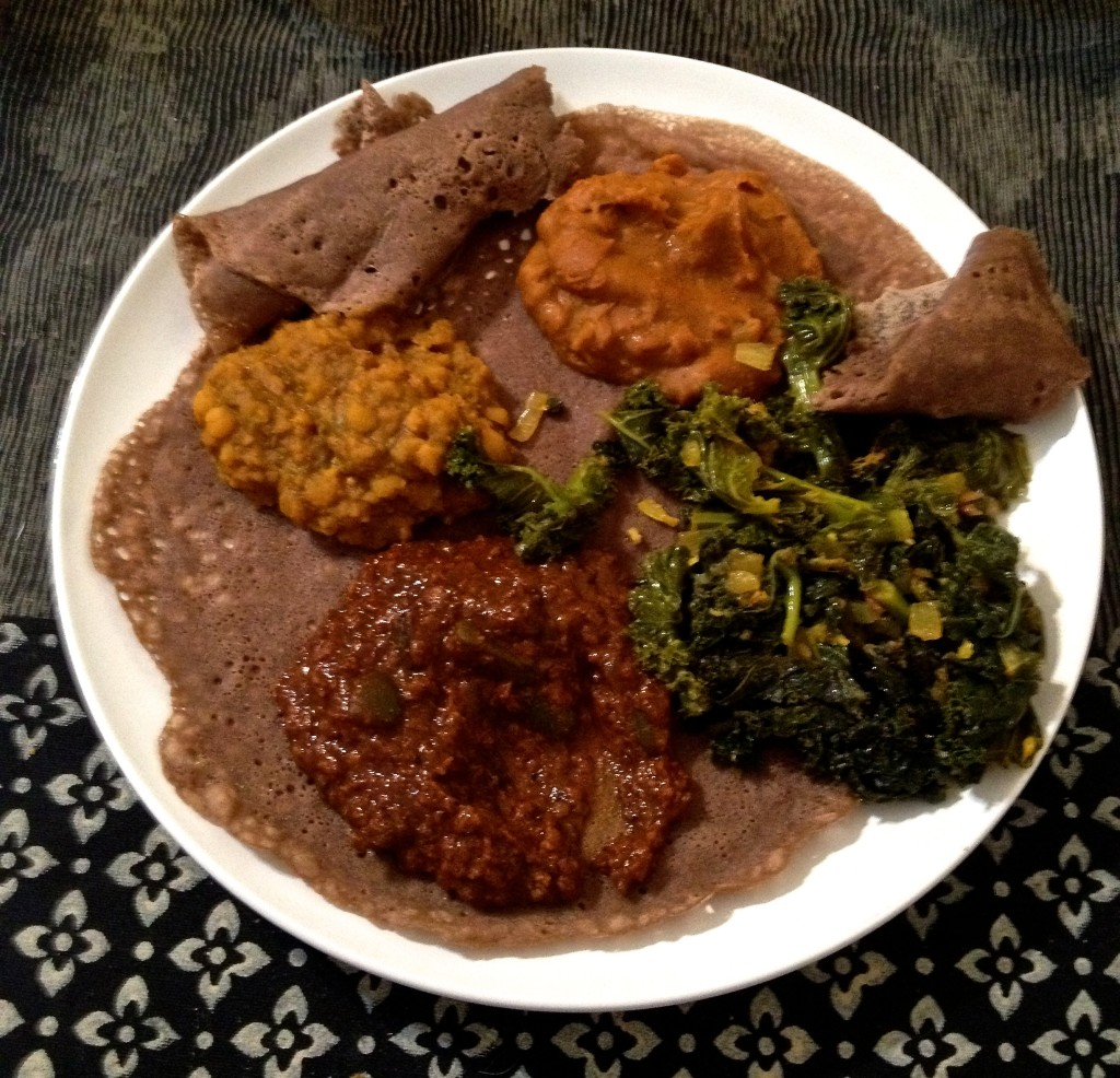 This is purely self-congratulatory: I learned how to make a credible Ethiopian meal