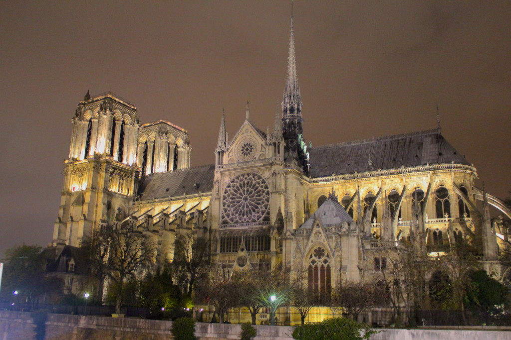 Notre Dame at night, in Paris